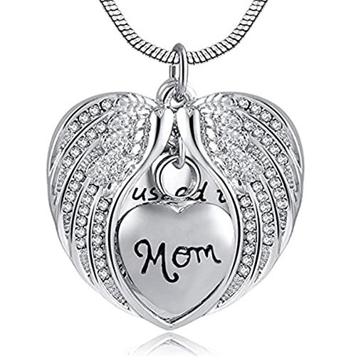 JOMOSIN AB914 Personalizado de Acero Inoxidable Unisex Angel Wing Memorial Memorial Shahes Azhes URN Colgante Colgante, solía ser su ángel Ahora es mío Colgante de cremación