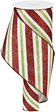 Diagonal Glitter Stripe Wired Edge Ribbon - 10 Yards (White, Red, Lime, 4 Inch)