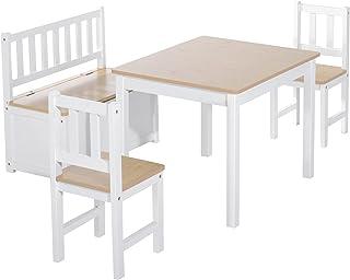 Ensemble de table et chaises enfant - set de 4 pièces - table, 2 chaises, banc coffre 2 en 1 - MDF pin blanc bois clair