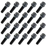 20 tornillos de rueda, M14 x 1,5, 45 mm, bola negra, selección de longitud, compatible con Audi, Mercedes, VW
