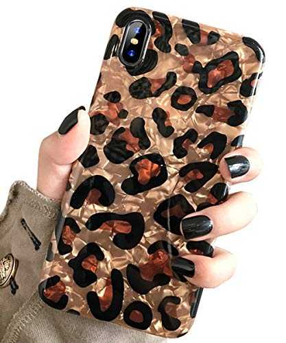 J.west Case for iPhone Xs Max, Luxury Sparkle Bling Crystal Clear Soft TPU Silicone Back Cover for Girls Women for Apple iPhone Xs Max 6.5 inch (Leopard)