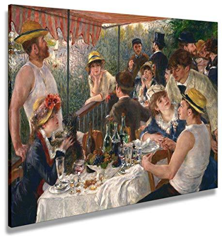 Digipix Artenòr - Cuadro de Renoir con piedra Auguste La collage de los Canottieri 1881 - Impresión sobre lienzo enmarcado - 90 x 68 cm