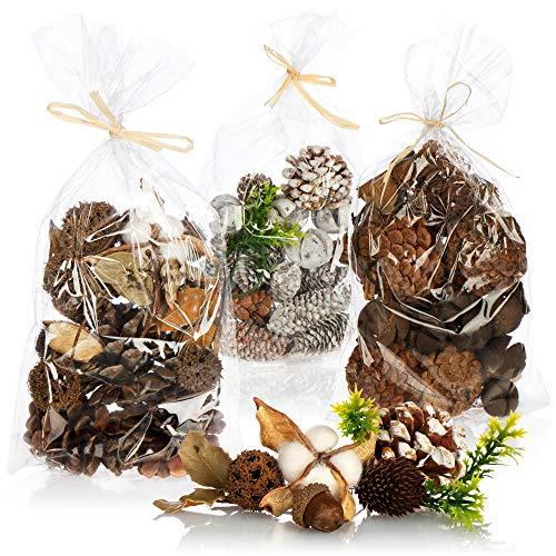 com-four® 3X Weihnachtsdekoration im Beutel mit Zapfen und Zweigen - Streudeko weihnachtlich - Bastel Set - Tischdeko - Adventskranz - Weihnachtsschmuck (3X Beutel: Zapfen braun/weiß. Zweige)