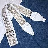 White & Gold GREEK KEY Cotton USA-made TROPHY Guitar Strap