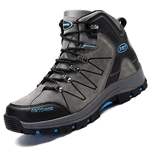Ikeyo Zapatos de Senderismo para Hombre Impermeables Botas de montaña Zapatos de High Cut Trekking Antideslizantes AL Aire Libre Sneakers