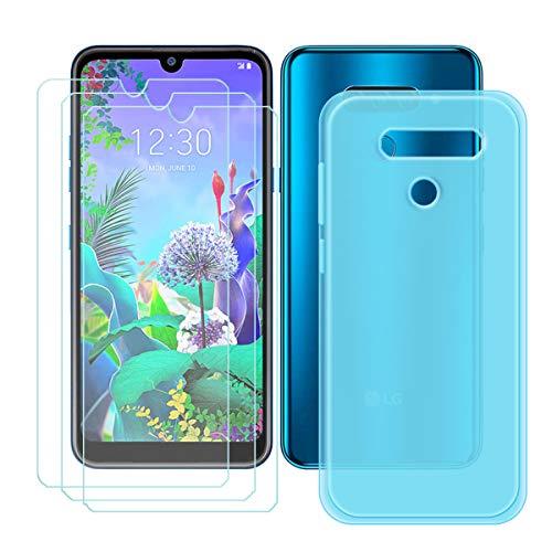 YZKJ Capa para LG K12 Max + 3 películas protetoras de tela de vidro temperado – capa de proteção de silicone TPU azul cristal flexível para LG K12 Max (6,2 polegadas)