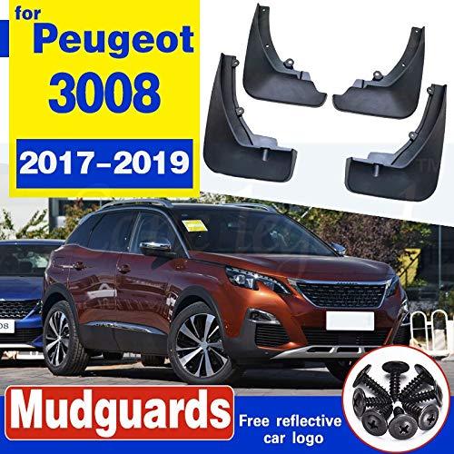 LWCX Guardabarros de Coche Un Conjunto de Moldeado de Coches Defensas Ajuste Fit for el Peugeot 3008 SUV 2 Guardabarros 2017 2018 2019 Rueda Delantera y Posterior Guardabarros