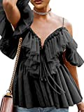 Simplee Women's Off Shoulder Sexy Ruffle Deep V Neck Blouse Shirt Lace Up Top (Black 10)