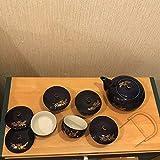 茶菓揃 蘭 湯のみ 蓋付き 5点 急須 1点 紺色 箱