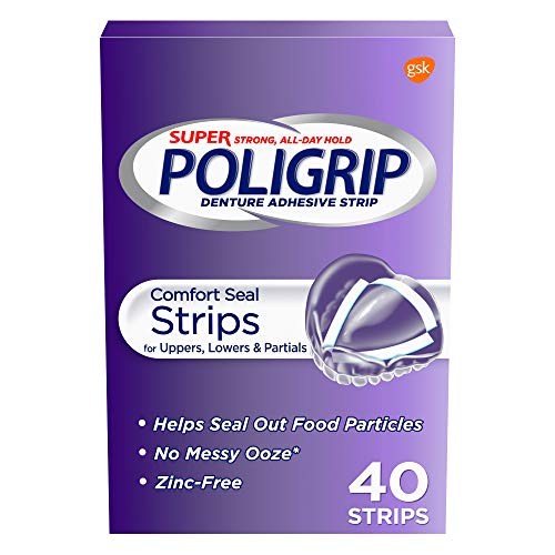 Super Poligrip Comfort Seal Denture Adhesive Strips, 40 Count(Pack of 4)