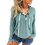 Hoodies for Womens Plus Size,FORUU 2021 Winter Fashion Casual Tops Women's Loose Lace Up Front Long Sleeve Solid Pullover 2021 Spring Sweatshirt with Hood Christmas Thanksgiving Green