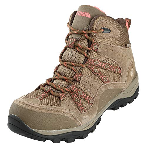 Northside Women's Freemont Leather Mid Waterproof Hiking Boot, Tan/Coral, 8 M US