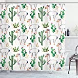 Ambesonne Cactus Shower Curtain, Hot South Desert Plant Cactus Pattern with Camel Animal Modern Colored Image Print, Cloth Fabric Bathroom Decor Set with Hooks, 75