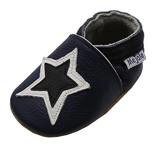 Mejale Chaussons Cuir Souple Chaussures Cuir Souple Chaussons Enfants Pantoufles Chaussures Premiers Pas Dessin animé étoile - Bleu Marin - 18-24 Mois,XL
