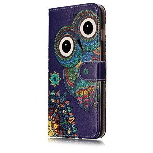 ISAKEN Compatibile con iPhone 6S Plus/iPhone 6 Plus Cover - Libro Wallet Flip Portafoglio Custodia Cover in PU Pelle Sollievo Pattern con Supporto di Stand/Carte Slot/Chiusura - Tribal Gufo