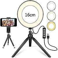 """LEDリングライト6""""Tik Tok YouTubeビデオメイクアップライブストリーミングミニカメラランプ20cm写真照明 (Color : With 2 mini tripods)"""
