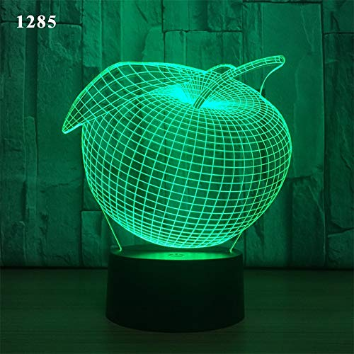 Grosse Pomme 3D Lampe Illusion Optique LED Veilleuse Illusions Lampe de Nuit Tactile Lampe de Chevet Chambre Table Art Déco Enfant Lumière de Nuit Câble USB Télécommande Ice crack base 16 Colors
