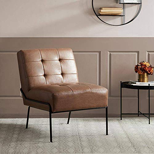 eLuxurySupply Armless Accent Chair - Upholstered Living Room Chair with Stain Resistant Fabric and Elegant Pintucking - Premium High Density Foam Cushion - Easy Assembly - Faux Brown Leather