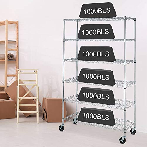 6 Tier Storage Shelves Metal Wire Shelving Unit with Wheels, 6000LBS Weight Capacity Heavy Duty NSF Height Adjustable Garage Shelving Utility Steel Commercial Grade Shelving Rack for Garage Kitchen
