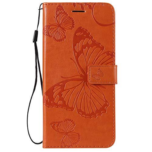 Hülle für [Galaxy J4 Core] Hülle Handyhülle [Standfunktion] [Kartenfach] [Magnetverschluss] Schutzhülle lederhülle flip case für Samsung Galaxy J4 Core - DEKT040445 Orange