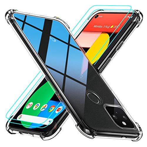 Peakally Funda Google Pixel 5 + [2 Pack] Cristal Templado Protector de Pantalla,...