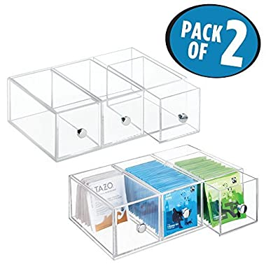 mDesign Kitchen Cabinet Countertop Plastic Storage Organizer Holder for Tea Bags, Sugar, Salt, Sweeteners, Creamers Single Serve packets - 3 Drawers, Pack of 2, Clear