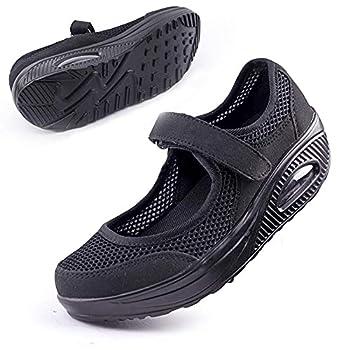 Women s Comfortable Working Nurse Shoes Non-Slip Adjustable Breathable Walking Buffer Fitness Casual Nursing Orthotic Lightweight Shoes Arthritis Diabetes Heel Pain Foot Pain 39# Ab-Black.
