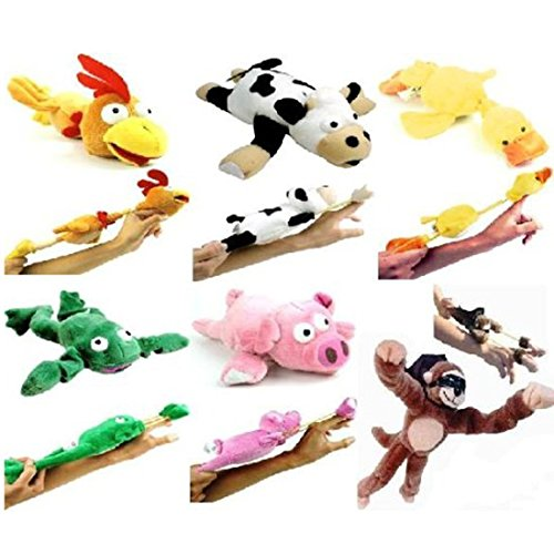 6pc Slingshot Flying Screaming Monkey Toy Flingshot Dog