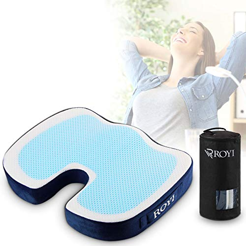 Gel Seat Cushion for Office Chair, Memory Foam Seat Cushion with Portable Bag Help for Tailbone,Sciatica, Back & Posture, Lightweight Orthopedic Chair Pad for Extra Support