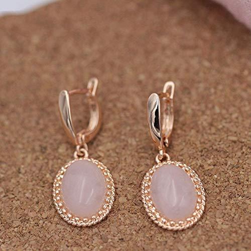 CHQSMZ Pendiente Nuevas Mujeres Boda India Joyería Diseño Original 585 Pendientes Colgantes de Oro Rosa Pendientes de ónix de Piedra Natural