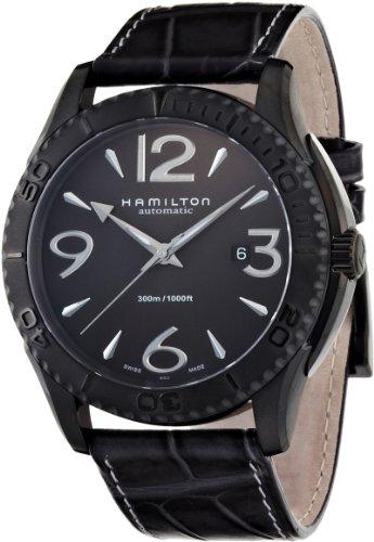 Hamilton H37785685 - Reloj analógico de caballero automático con correa de piel negra