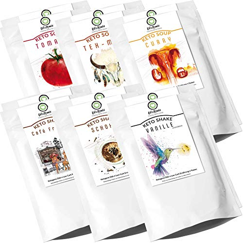 KetoMeals Proben Paket Keto Shakes & Soups, Ketogene Diät, Low Carb Ernährung, Fasten | 12er Set, Probierpaket