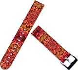 Leather Watch Strap 18mm,ENDIY 18mm Watch Strap Band Replacement Leather for Huawei Fit Honor S1/for Asus Zenwatch 2 (1.45)/for Withings Activite Pop Steel/for Lg Watch Style Vintage Floral Design