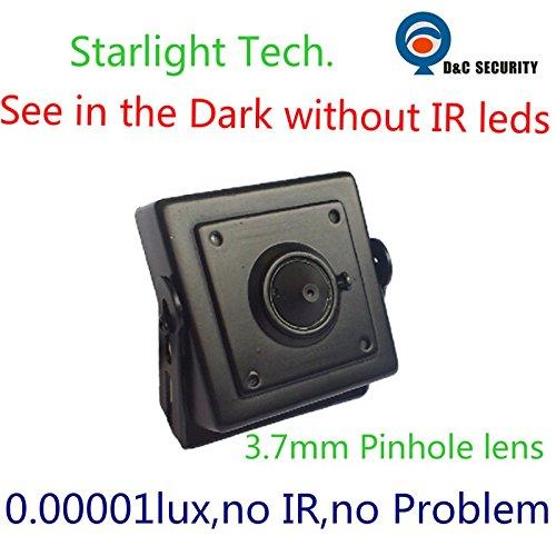 Cámara de Seguridad CCTV analógica 700TVL Low Light Hidden Black 0.00001Light Lámpara de visión Nocturna Starlight Night y Starlight con Lente estenopeica de 3.7mm
