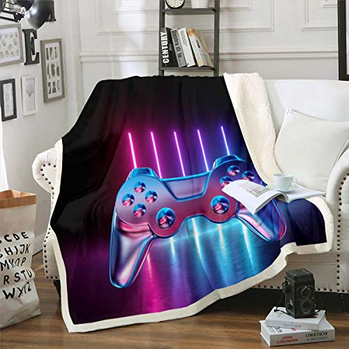 Feelyou Boys Game Fleece Throw Blanket Gradient Neon Gamepad Sherpa Blanket for Kids Teens Video Game Gamepad Plush Blanket Novelty Game Controller Fuzzy Blanket for Sofa Bed Couch,Baby 30x40 Inch