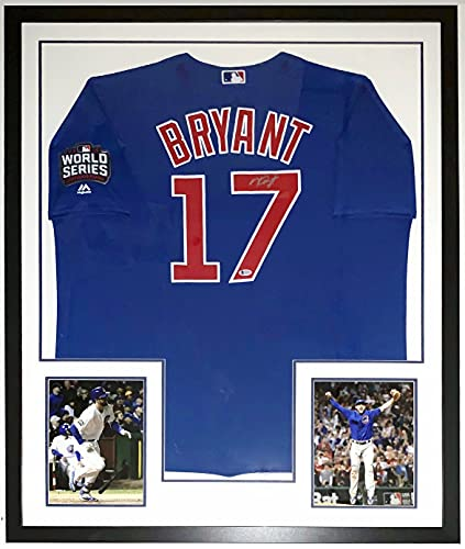 Kris Bryant Signed Majestic Authentic Chicago Cubs 2016 World Series Jersey - Beckett Authentication Services BAS COA Authenticated - Professionally Framed & 2 8x10 Photo & Patch 34x42