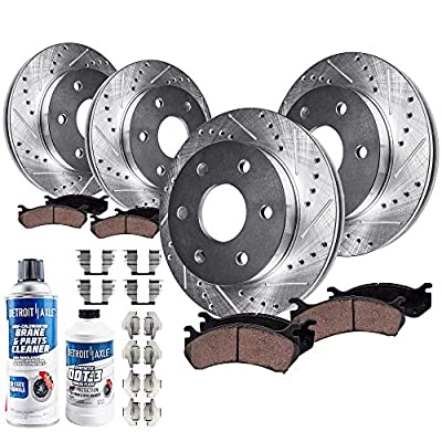 Detroit Axle - All (4) Front and Rear Drilled and Slotted Disc Brake Kit Rotors w/Ceramic Pad Kit for 2006-2007 Buick Rainier 4.2L / Chevy SSR - [06-08 Trailblazer/GMC Envoy 4.2L]