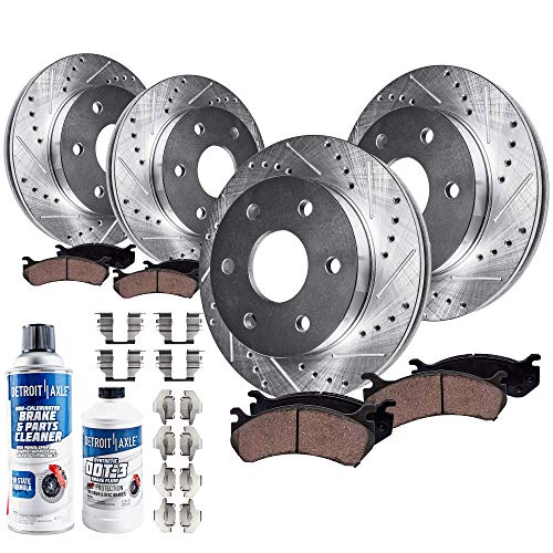Detroit Axle - 4WD 6-LUG FRONT & REAR DRILLED & SLOTTED Brake Kit Rotors & Ceramic Brake Kit Pads w/Hardware, Brake Kit Fluid & Cleaner fits 2005-2008 Ford F-150 & 2006-08 Lincoln Mark LT 4x4 6-Lug