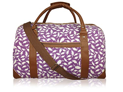 15 Colours Canvas Travel Holdalls - Weekend Overnight Bags - Medium Size Holiday Duffle Bag - Ideal Womens Ladies Gym Holdall - Hand Luggage Cabin Baggage 50cm x 30 x 25, 35L QL216 (Purple Feathers)