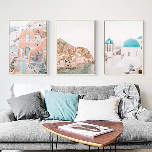 MYSY Wandkunst Bild Drucken Moderne Griechenland Oia Santorini Meerblick Landschaft Poster Leinwand Malerei Wohnzimmer Wohnkultur Salon-50x70cmx3 stücke [kein Rahmen]