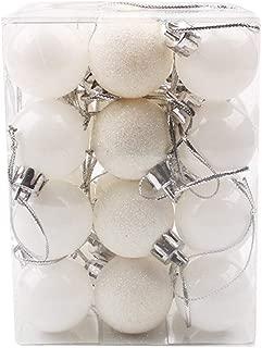 Rusilay Christmas Decoration Ball Ball Ornaments 24Pcs 30Mm Christmas Xmas Tree Ball Bauble Hanging Home Party Ornament Decor Xmas Tree Decoration Beading Kits (White)