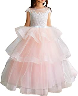 TYHTYM Luxury Burgundy Ball Gown Pageant Dresses for Girls Floor Length Flower Puffy Tulle Prom Wedding Birthday Party