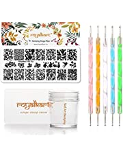 Royalkart Nail Stamping Kit 1 Stamping Image Plate, Jelly Nail Silicone Stamper & Scraper & Dotting Tool With Flower Series Designs (RK-02)