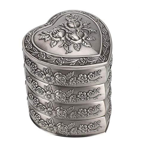 DAUERHAFT Estuches de Almacenamiento de Joyas de Estilo Europeo en Forma de corazón Metal sin óxido, sin decoloración para Collar, Reloj para cumpleaños, (Four Floors)