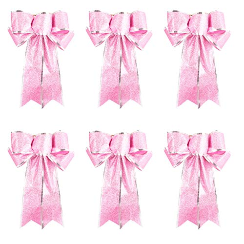 Worldoor Pink Glitter Christmas Ribbon Bow Tree Wreath Decorations Windows Gifts Hanging Ornaments, 6 pcs (Pink)