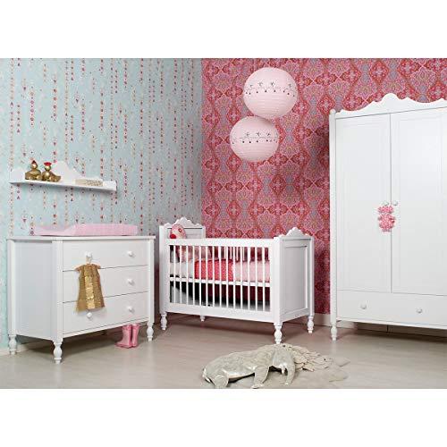 Chambre complète lit bébé 60x120 - commode à langer - armoire 2 portes Belle - Blanc