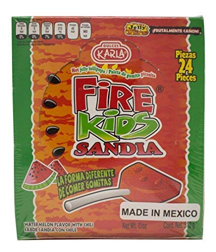 Fire Kids Sandia- Chili Gummy Watermelon Lollipops, 24 pieces, Mexican Candy