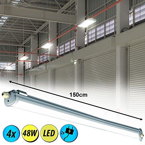 4er Set 48W LED Decken Wannen Leuchten Röhren Werkstatt Beleuchtung Tageslicht Industrie Strahler