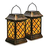 VZCOME Hanging Solar Lantern Lights Flickering Flame Metal Solar Lanterns Outdoor with Handle Solar Garden Decorative Lanterns Waterproof Umbrella Lights for Patio Pathway Deck Yard, 2 Pack
