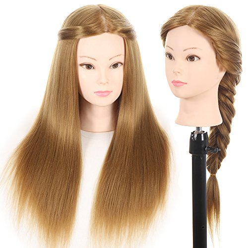27' Mannequin Head Hair Styling Training Head Manikin Cosmetology Doll Head Synthetic Fiber Hair (Table Clamp Stand Included)